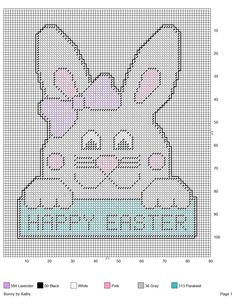 BUNNY (HAPPY EASTER) by KATHY Plastic Canvas Crafts, Plastic Canvas Patterns, Easter Projects, Projects To Try, Easter Cross, Cross Stitch Patterns, Stitching Patterns, Easter Baskets, Cross Stitching