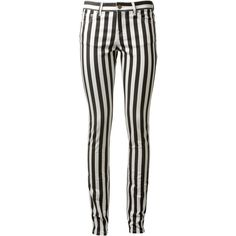 Saint Laurent black and white slim striped denim ($205) ❤ liked on Polyvore featuring pants, bottoms, jeans, pants - jeans and yves saint laurent
