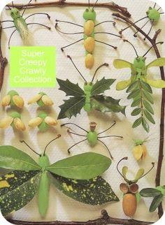 Cuadro hecho de plastilina, saltamontes y otros insectos sobre papel.
