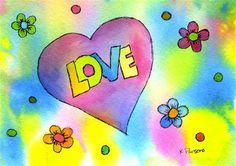 """Love"" - Original Fine Art for Sale - Watercolor and Ink - © Kali Parsons - http://kaliparsons.blogspot.com"