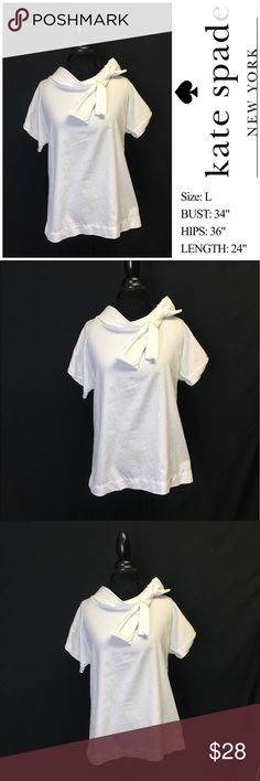 "White Kate Spade Bow Neckline Top ♠️ S I Z E:  LARGE  F A B R I C  C O N T E N T: 100% COTTON  D E S C R I P T I O N: WHITE COTTON STRETCH BOAT NECKLINE WITH BOW DETAIL   M E A S U R E M E N T S: (TAKEN LAYING FLAT, UNSTRETCHED) BUST: 34"" HIPS: 36"" LENGTH: 24""  C O N D I T I O N: GOOD CONDITION, GENTLY WORN.. FABRIC SHOWS SIGNS OF LIGHT/NORMAL WEAR. NO FLAWS TO NOTE. kate spade Tops Blouses"