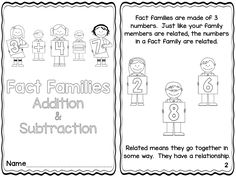 Printable reader explaining fact families $