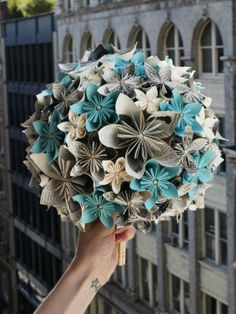 Origami Bouquet of Flowers - no instructions included, but the colors are magnificent!