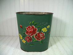 Vintage Dark Green Enamel & Floral ToleWare Metal by DivineOrders, $18.00