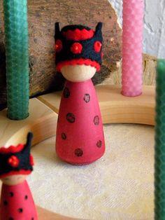 Lady Bug Birthday Doll, Birthday Queen, Summer Doll, Queen Lady Bird, Lady Bug, Waldorf Birthday, Waldorf Gnome, Wooden Doll