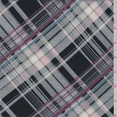Black, ivory, pink, denim blue and cranberry plaidprint. This lightweight polyester knit fabric has ample widthwise stretch and recovery.Compare to $10.00/yd
