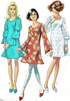 1960s Dress Pattern Simplicity 7983 Mod Trumpet by paneenjerez, $14.00