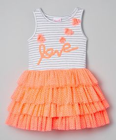 Look at this Coral & White 'Love' Babydoll Dress - Infant & Kids by Nannette Toddler Dress, Toddler Girl, Infant Girls, Toddler Fashion, Kids Fashion, Little Girl Dresses, Girls Dresses, Little Fashionista, Baby Dolls