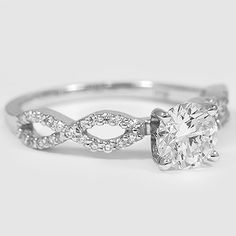 18K White Gold Infinity Diamond Ring // Set with a 0.75 Carat, Round, Super Ideal Cut, J Color, SI1 Clarity Diamond #BrilliantEarth