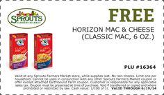Free Horizon Macaroni and Cheese (6oz) at Sprouts expires 6/19