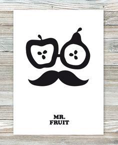 Hipster fruit mustache