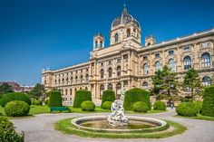 Beautiful view of famous Naturhistorisches Museum (Natural History Museum) with park and sculpture in Vienna, Austria Naturhistorisches Museum Wien, Vienna Hotel, Hotels, Austria Travel, Travel Europe, Danube River, Imperial Palace, Vienna Austria, Amazing Destinations