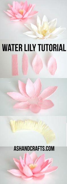 Las flores de loto son preciosas y tienen un significado fabuloso, así que si te gustan puedes optar por realizar estas flores de loto con papel crepe.