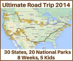 Last time we met Terri and her family of seven who took the Ultimate Road trip with 30 states and 20 national parks in an eight week period. Here we'll share a map and stops they took during their trip.  I used http://MyScenicDrives.com to plot the map. The site states that