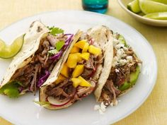 Slow-Cooker Pork Tacos Recipe from Food Network--Great flavor; some prep involved before going in slow cooker Healthy Slow Cooker, Slow Cooker Pork, Slow Cooker Recipes, Crockpot Recipes, Cooking Recipes, Healthy Recipes, Tacos Crockpot, Easy Recipes, Dinner Crockpot