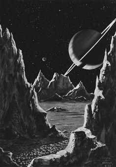 "Chaosophia218 — David A. Hardy - Saturn from Rhea, ""Challenge of..."