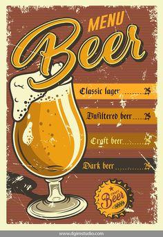 Vintage pub poster design with beer mug. Beer Cartoon, Etiquette Vintage, Vintage Menu, Beer Shirts, Beer Label, Wine And Beer, Best Beer, Concert Posters, Vintage Ads