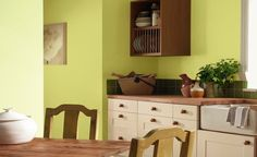 Gorgeous green walls. LOVE the cabinet color. LOVE the countertop color. I WILL HAVE THIS!