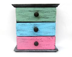 Colorful distressed wooden drawers box craft by ArtandWoodShop Handmade Home, Handmade Gifts, Wooden Drawers, Box Storage, Decorations, Colorful, Fresh, Bird, Cabinet