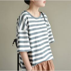 Grace Fresh Striped Short Sleeve Top  #linendress #linen #overalls #OnePiece #pants #loosepants