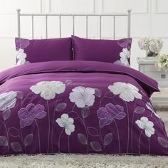 Purple and White Abstract Flower Print Tropical Rustic Chic Unique Kids and Teenage Full, Queen Size Bedding Sets