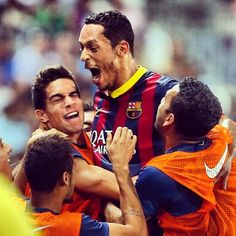 Barcelona ensured their best ever start to a Spanish league season thanks to a 2-0 win at Almeria Goals by Messi and Adriano  FC Barcelona