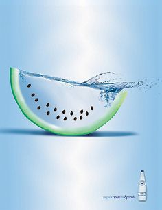 Esta marca de agua juega con la óptica y los colores. La #solucion fue crear un efecto en la sandía para así dar a conocer las características de sus productos.