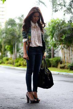 Virgos Lounge Top, Fashion Galore Blazer, Jag Jeans, Yves Saint Laurent Bag, Primadonna Shoes