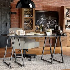 Charming Brick Is The New Black Home Office Study Office, The Office, Office Decor,