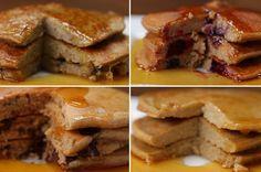 Nutritious Pancakes 4 Ways (banana pancakes) Tasty Tasty Peanut Butter Pancakes, Cinnamon Roll Pancakes, Banana Pancakes, Breakfast And Brunch, Breakfast Recipes, Banana Breakfast, Waffel Vegan, Good Food, Yummy Food