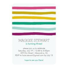 Shop Rainbow Stripes Birthday Invitation created by kbecca. Birthday Party Themes, Birthday Invitations, Rainbow Birthday, Birthday Kids, Rainbow Colors, Kids Rainbow, Pink Polka Dots, Rsvp, Stripes