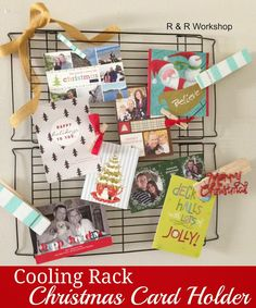 This would be so cute in the kitchen! Cooling Rack Christmas Card Holder #christmas #cards #diy