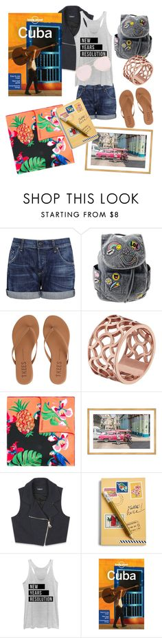 """""""Cuban Getaway"""" by minaaa-coe ❤ liked on Polyvore featuring Citizens of Humanity, Tkees, Tartesia, Valentino, Bebe, Vera Bradley, Chin Up and Lonely Planet"""