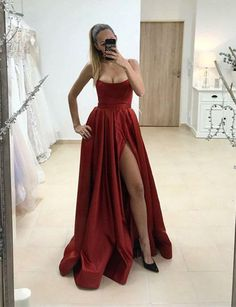 01d78e91378a7 Burgundy Sexy Strapless High Split Prom Dress Long Sexy Women Evening Gown  PD0105 · Lange AvondjurkenZwarte ...