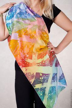Scarves handmade. Batik scarf 'rainbow'. Silk mood(batik). My Livemaster.Rainbow, gifts for women