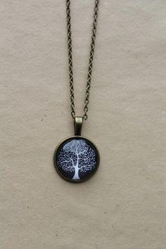 Black Tree Necklace Tree Black Glass Dome by JewelleryChain