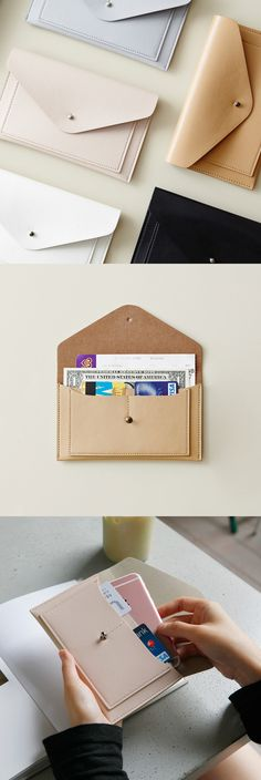 Flat Leather Envelope Pouch