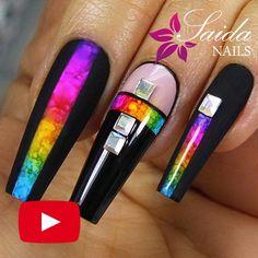 Nail Art Hacks, Nail Art Diy, Diy Nails, New Nail Art, Nail Art Designs Videos, Nail Art Videos, Nail Colors, Color Nails, Bling Acrylic Nails