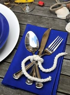 Adorable! Tying the knot them. (give the wedding / party guests a list of different knots to try. Something to keep them occupied while waiting for the bridal party's arrival!)