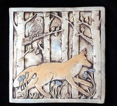 Running fox 8 handmade ceramic tile Brown and orange and by agapanthertiles, $75.00