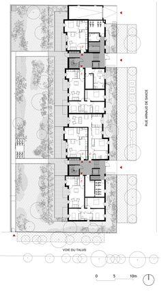 25 collective social housing in Saint-Jean-de-Braye - MDNH - 25 collective social housing in Saint-Jean-de-Braye – MDNH - Social Housing Architecture, Site Analysis Architecture, Architecture Résidentielle, Residential Building Plan, Home Building Design, Residential Complex, Architectural Floor Plans, Architectural Section, Habitat Collectif