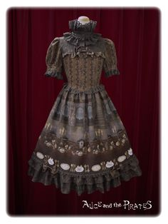 Alice and the Pirates Banquet in the dark night with dancing roses one piece dress