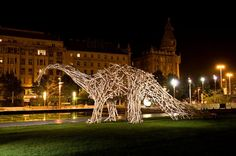 Gigantic wooden slat animal sculpture, Gábor Miklós Szőke