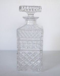 Vintage glass decanter by Timebanditvintage on Etsy, $25.00