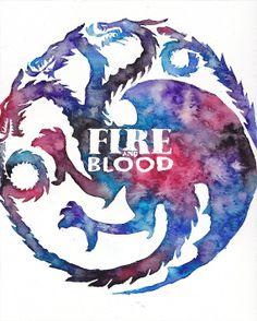 Game of Thrones - Fire and Blood - Daenerys Targaryen - Dragon Watercolor 8x10 Print