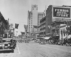 Saginaw Street looking north from city hall, 1936