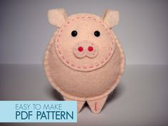Easy to sew felt PDF pattern. DIY Gino the Pig by Phoraminiphera, $5.00