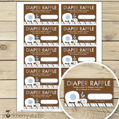 Blue and Brown Elephant Baby Shower Diaper Raffle Tickets. $3.00, via Etsy.