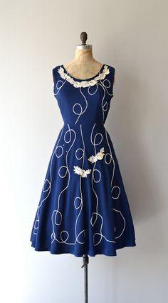 Ticino Charm dress vintage 1950s dress blue linen by DearGolden