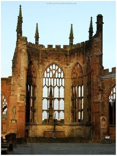 I have chosen this picture to represent where my grandparents were born and have lived their whole lives, Coventry. WWII Ruins of St. Michael's church in Coventry, England. Old Abandoned Buildings, Abandoned Places, Michael Church, St Michael, Coventry Cathedral, Beautiful Ruins, Art Nouveau, Old Churches, Gothic Architecture